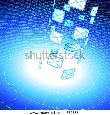 Original Vector Illustration: Email messages into wire frame globe background with binary code AI8 compatible