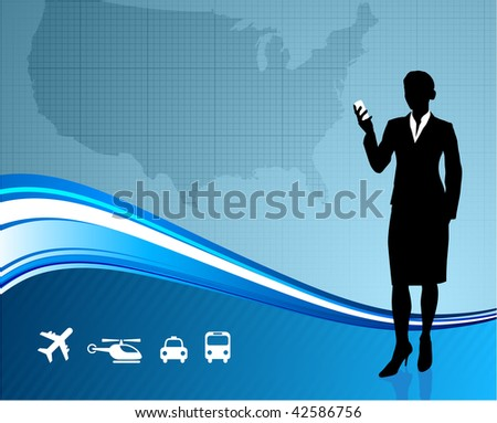 Original Vector Illustration: Female Business traveler on US map background AI8 compatible