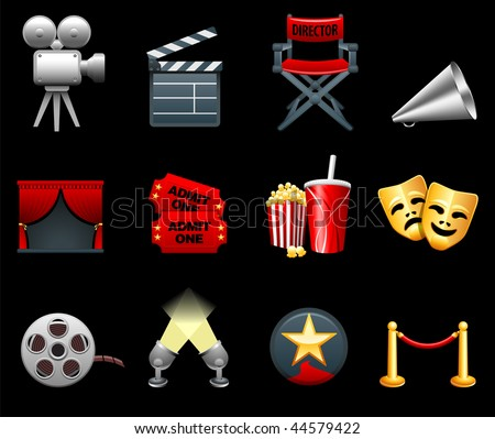 Original vector illustration: Film and movies industry icon collection