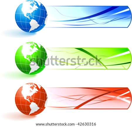 Original Vector Illustration: Globe banners AI8 compatible