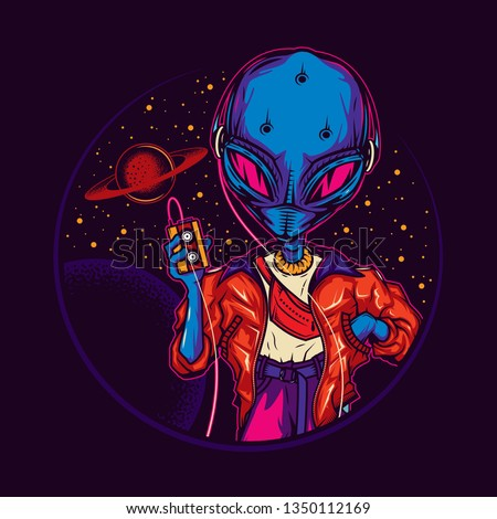 Original vector illustration in vintage neon style. An alien, an alien in headphones, with a cassette player in his hands, against the background of space and planets. T-shirt design