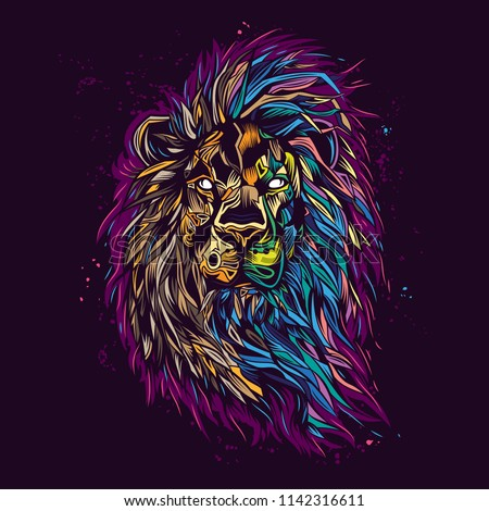 Original vector illustration. Lion in neon retro style. Design for t-shirt or sticker
