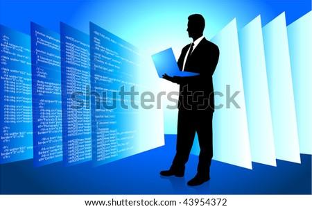 Original Vector Illustration: Male IT programmer accessing internet on laptop AI8 compatible