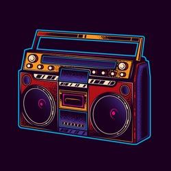 Original vector illustration of neon. Boombox. Retro portable stereo radio cassette player.
