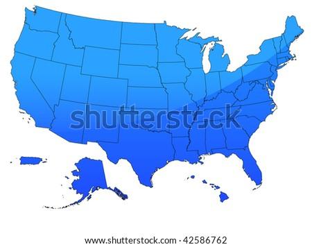 Original Vector Illustration: USA map in blue AI8 compatible