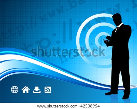 Original Vector Illustration: Wireless internet background with modern businessman File is AI8 compatible