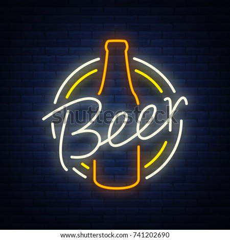 Original vintage retro design of a neon-style logo for a beer house, bar pub, brewery brewery, tavern stuffing pub restaurant. Night beer advertising, neon glowing bright sign