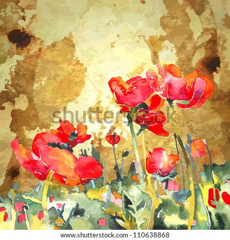 original watercolor poppy