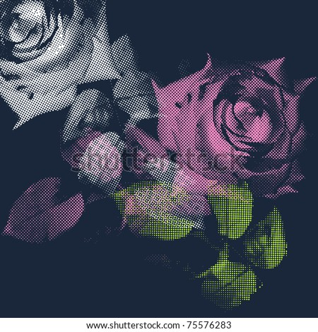 Original white and pink roses on dark blue background