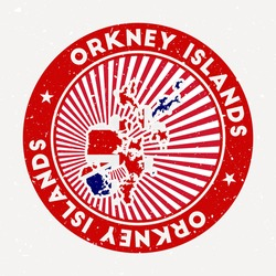 Orkney Islands round stamp. Logo of island with flag. Vintage badge with circular text and stars, vector illustration.