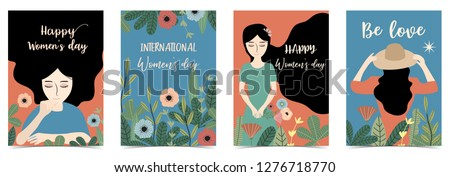 Ornage blue International Happy Women's Day with women,flower and leaf #1276718770