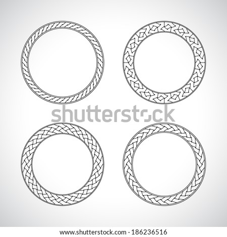 ornament circle round set black