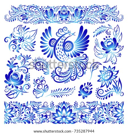 Ornament gzhel style painted blue art bird and flowers traditional Russian folk bloom branch pattern vector illustration.