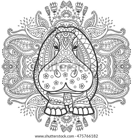 ornament  hippo vector....