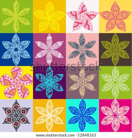 Ornament, kaleidoscopic floral pattern. Set of sixteen flowers.