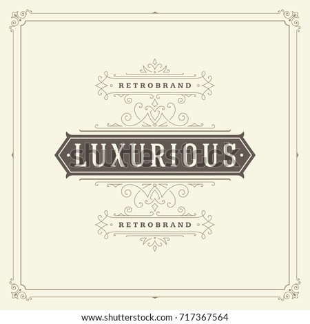 Ornament logo design template vector flourishes calligraphic vintage frame. Good for Luxury Crest, boutique brand, wedding shop, hotel sign.