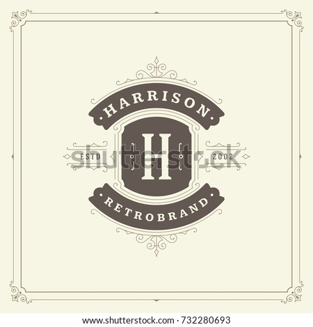 Ornament monogram logo design template vector flourishes calligraphic vintage frame. Good for Luxury Crest, boutique brand, wedding shop, hotel sign.
