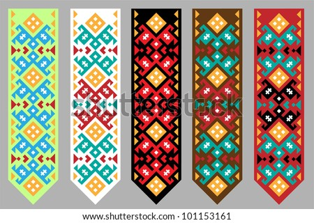 Ornament of the northern peoples of Russia. Various colors. Vector illustration.