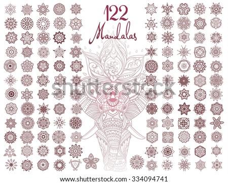 ornament round set with mandala
