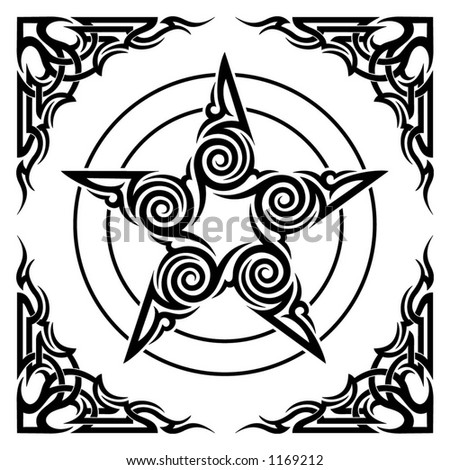 pentagram tattoos. stock vector : ornament tribal
