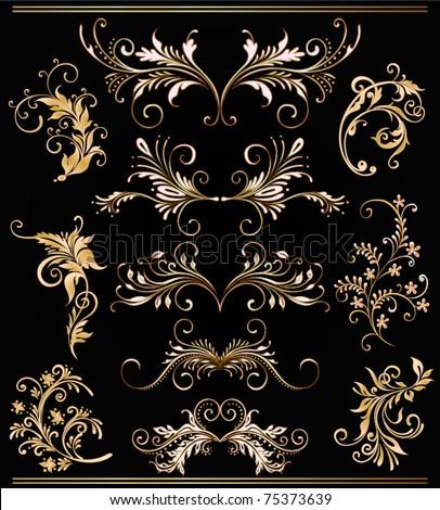 ornament vector elements, vintage gold floral designs - stock vector
