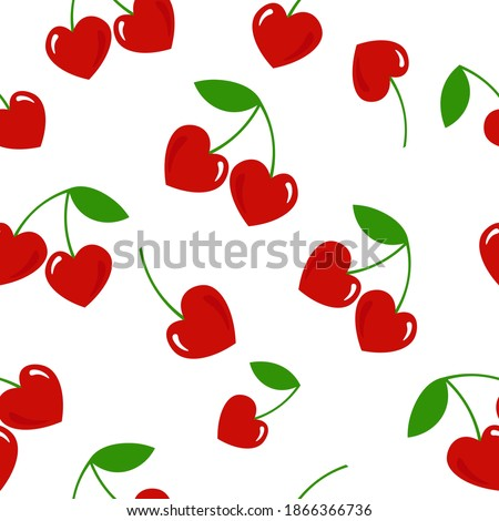 Ornament with cherry hearts seamless pattern for Valentine's day. Vector graphics