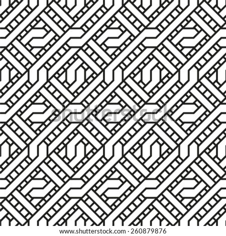 Ornamental black and white geometrical template for design.