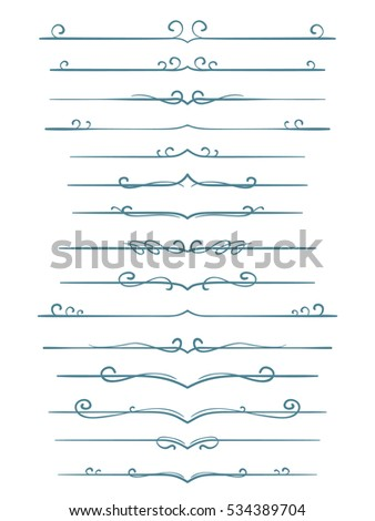 Ornamental calligraphic line page decoration Vector design element set.
