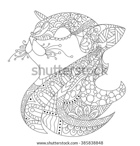 ornamental cat's head   drawing