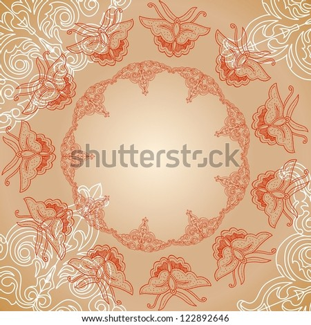 ornamental circle background with butterfly image
