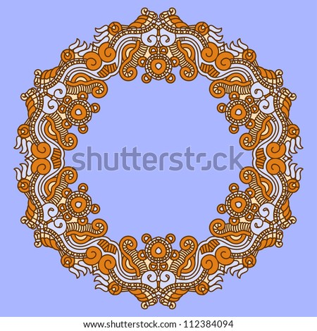 Ornamental colorful round floral ethnicity lace pattern, mosaic vector stained glass