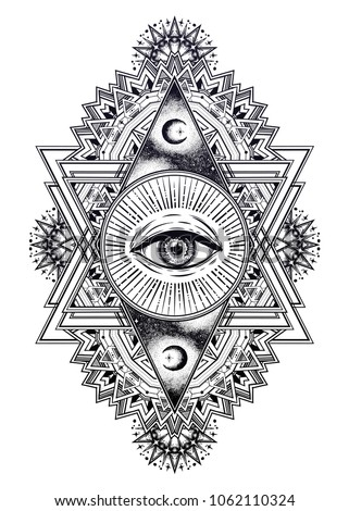 Ornamental composition with sacred geometry eye. Vision of God Providence. Alchemy, religion, spirituality, occultism. Isolated vector illustration. Conspiracy theory. Drawing in flash tattoo style.