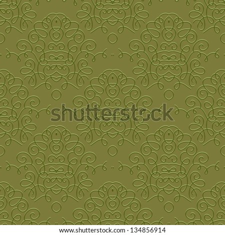 Ornamental Curly Pattern With Damask Motif In Olive Green