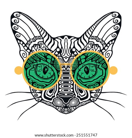 Ornamental decorative cat Hipster sunglasses Graphics for t-shirt poster isolated element for card design Hand drawn vector fashion illustration