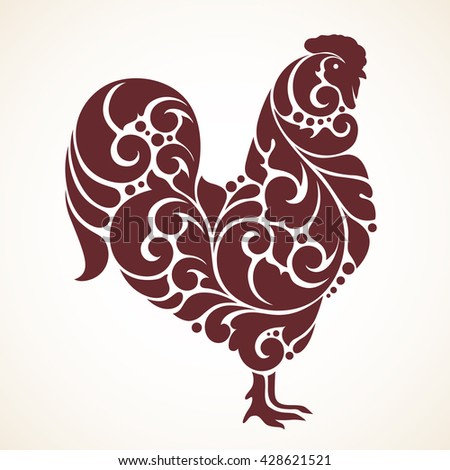 Ornamental decorative cock patterned silhouette cock vector abstract bird silhouette - Cock designing ...