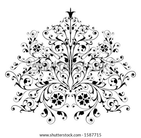 Ornamental design, digital artwork - stock vector