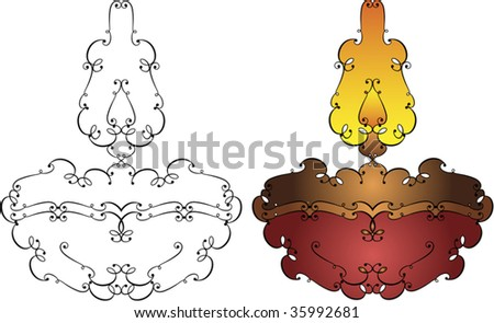 oil lamp vector. stock vector : Ornamental Diya