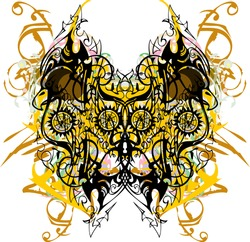 Ornamental double eagle symbol floral splashes. An abstract linear symbol of an eagle, similar to a butterfly with colored decorative elements for textiles, wallpaper, tattoo, prints on t-shirts, etc.