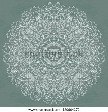Ornamental floral circle on grunge background