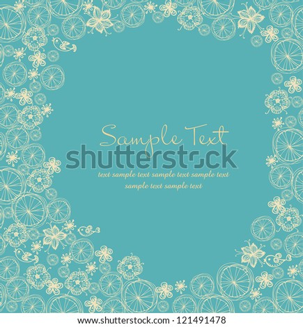 Ornamental floral text background with sample text. Template with flowers and butterflies for design greeting cards, covers, package