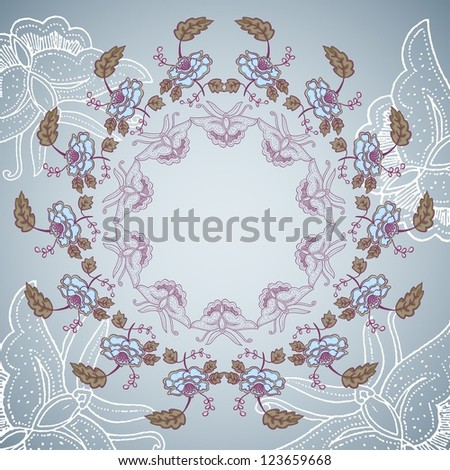ornamental flower and butterfly background on circle shape