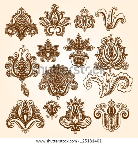 Ornamental flowers. Vector set with floral elements in vintage style. Indian mendie