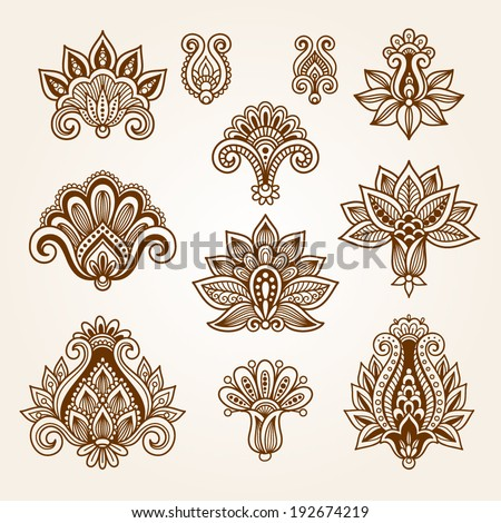 Ornamental flowers Vector set with floral elements in vintage style Indian mendie