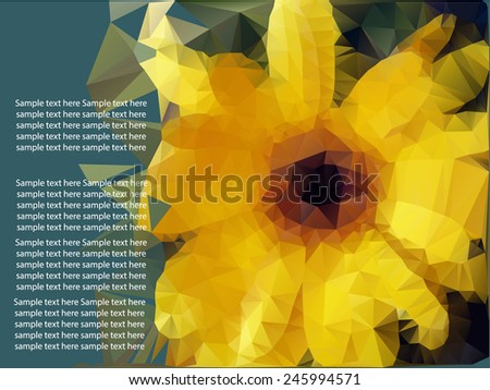 ornamental geometric bright background with large flowers sunflowers