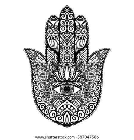 Royalty-free Vector hamsa hand drawn symbol #341528585 ...