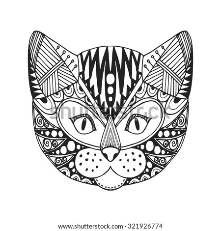 ornamental head of cat  trendy