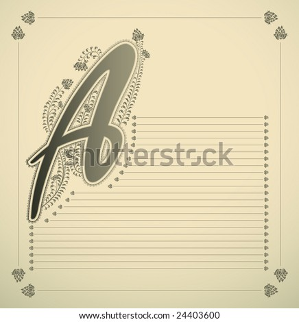 ornamental letter - A - vector