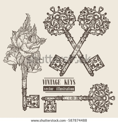 Ornamental medieval vintage keys collection. Hand drawn old keys design template