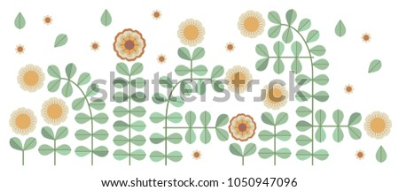 Ornamental modern vector with abstract form, geometry shapes, dot, flowers. Cute print in scandinavian style.The image is made in the style of hand-made. It is good minimal pattern for textile style.