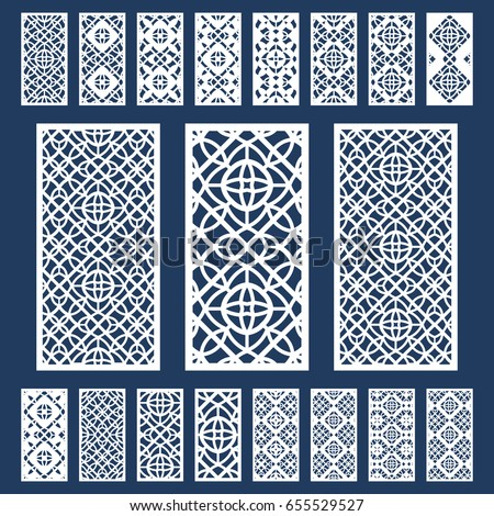 Ornamental panels template set for cutting exterior. Silhouette geometric pattern. Laser cut cabinet fretwork perforated panel in arabic style. Metal, paper or wood carving. Outdoor screen.